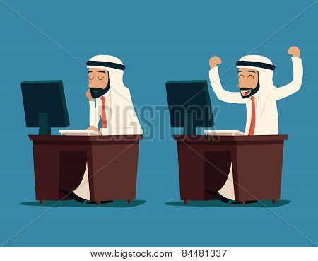 Arab Businessman at Desk Working on Computer Cartoon Characters Icon Stylish Background Retro Design