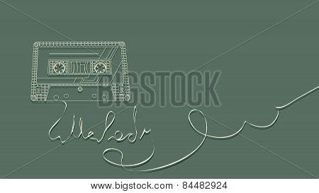 Vector Illustration Of Tape Cassette On Green.