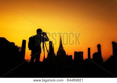 Silhouette Of Man Photographer At Wat Phrasisanpetch