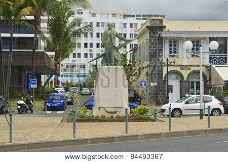 Exterior of the statue of Roland Garros in Saint-Denis De La Reunion, France.