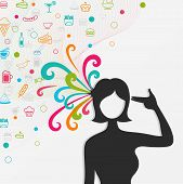 A silhouette woman's head explodes with lots of food and candy while she shot herself create by vector poster