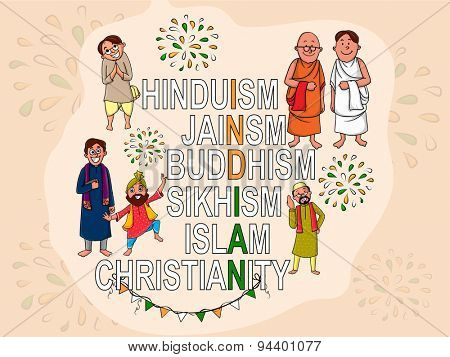 Creative illustration with different religion's names and people make national flag color text India for Indian Independence Day celebration.
