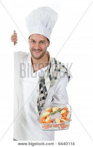 Young Attractive Chef Caucasian Male , Tenderloin Piece