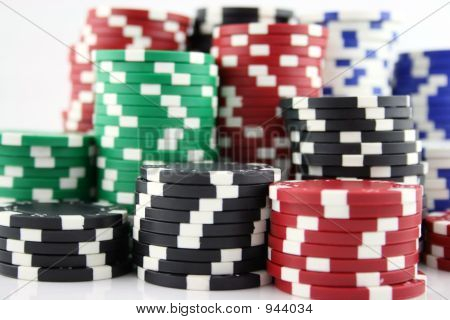 Large Stack Of Casino Chips
