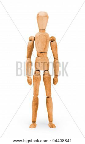 Wood Figure Mannequin With Bodypaint - Orange