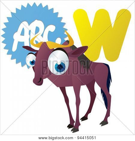 animal children alphabet: W is for Wildebeest