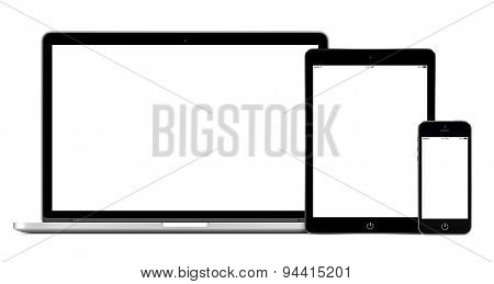 Open Laptop With Digital Tablet And Smartphone Mockup