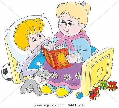 Granny and grandson reading fairytales