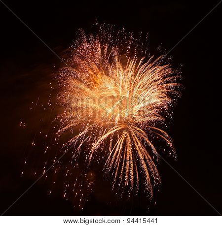 Orange red fireworks in dark background, orange red fireworks isolated in dark, colourful fireworks