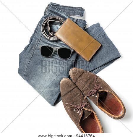 men clothes accessories isolated on white background