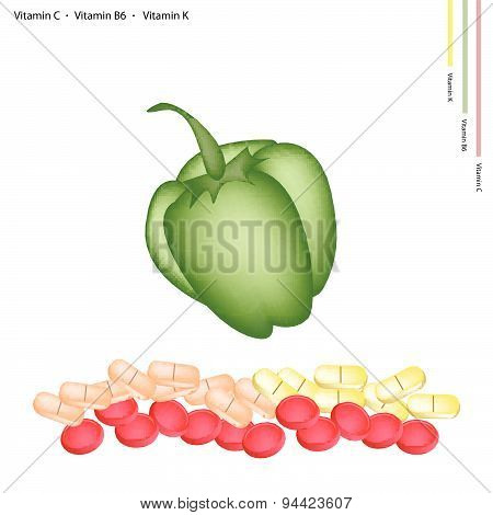 Green Bell Peppers With Vitamin C, B6 And K