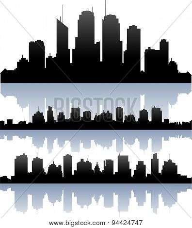 Vector cityscape skyline buidlings silhouette collection
