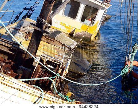 The sunken barge
