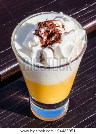 Liqueur With Whipped Cream And Cocoa Powder, Eggnog