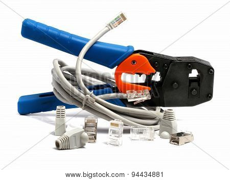 RJ-45 connector and caps and tool on a white background poster