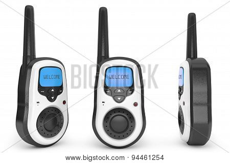 Portable radio transceivers on a white background. 3d rendering poster