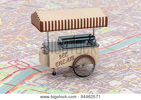 Vintage Ice Cream Cart Over Map
