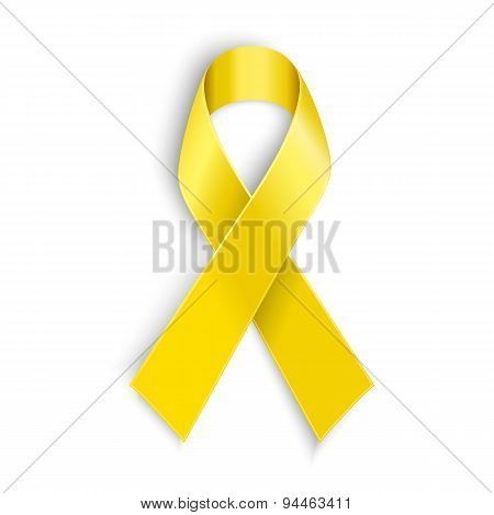 Yellow awareness ribbon on white background.
