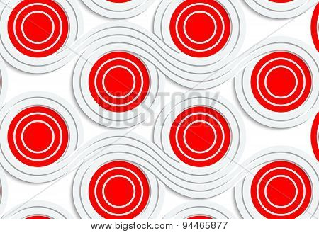 Abstract seamless background with 3D cut out of paper effect. Pattern with realistic shadow. Modern texture. Stylish backdrop.White colored paper red spools merging. poster