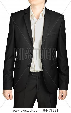 Dark Gray Evening Suit, Unfastened Blazer, White Shirt, No Tie.