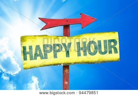 Happy Hour sign with sky background