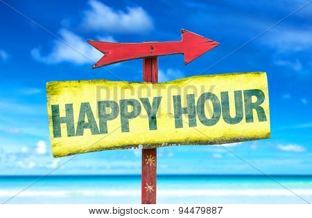Happy Hour sign with beach background