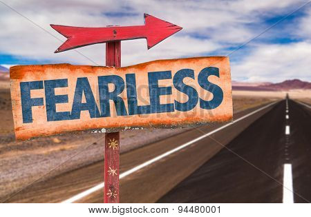 Fearless sign with road background