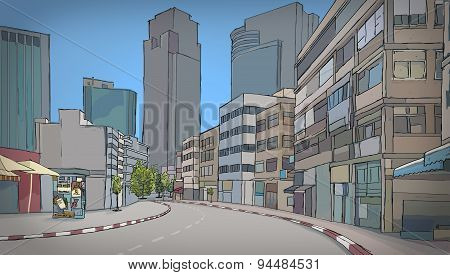 Colorful drawing of street with buildings