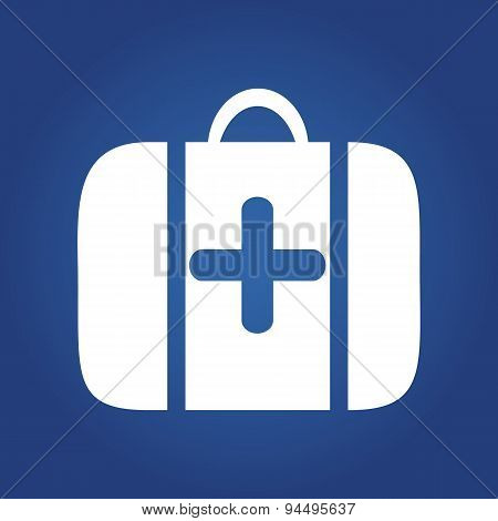 medical icon on blue background - Medical bag, first aid or medical kit icon.