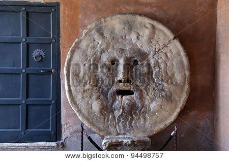 Bocca Della Verita, The Mouth Of Truth In Rome, Italy