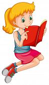 Cute girl reading a storybook alone poster