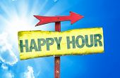 Happy Hour sign with sky background poster