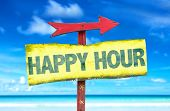Happy Hour sign with beach background poster