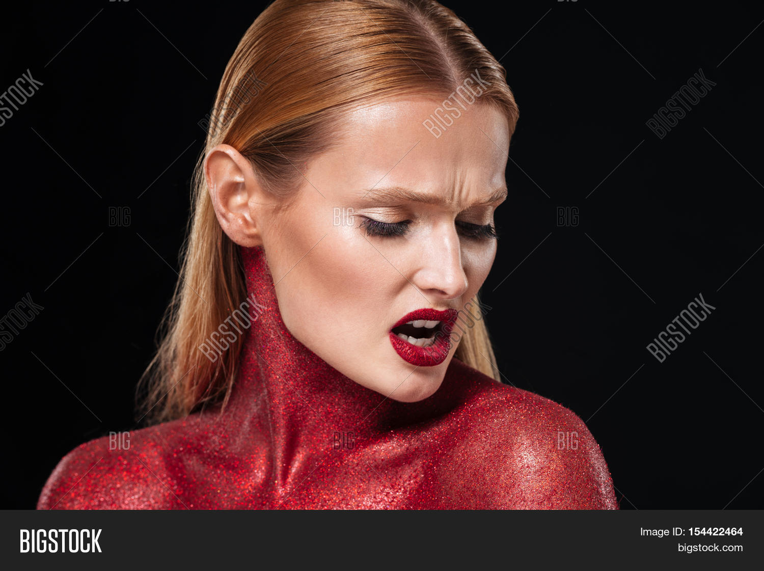 Red Bodypaint Close Image Photo Free Trial Bigstock