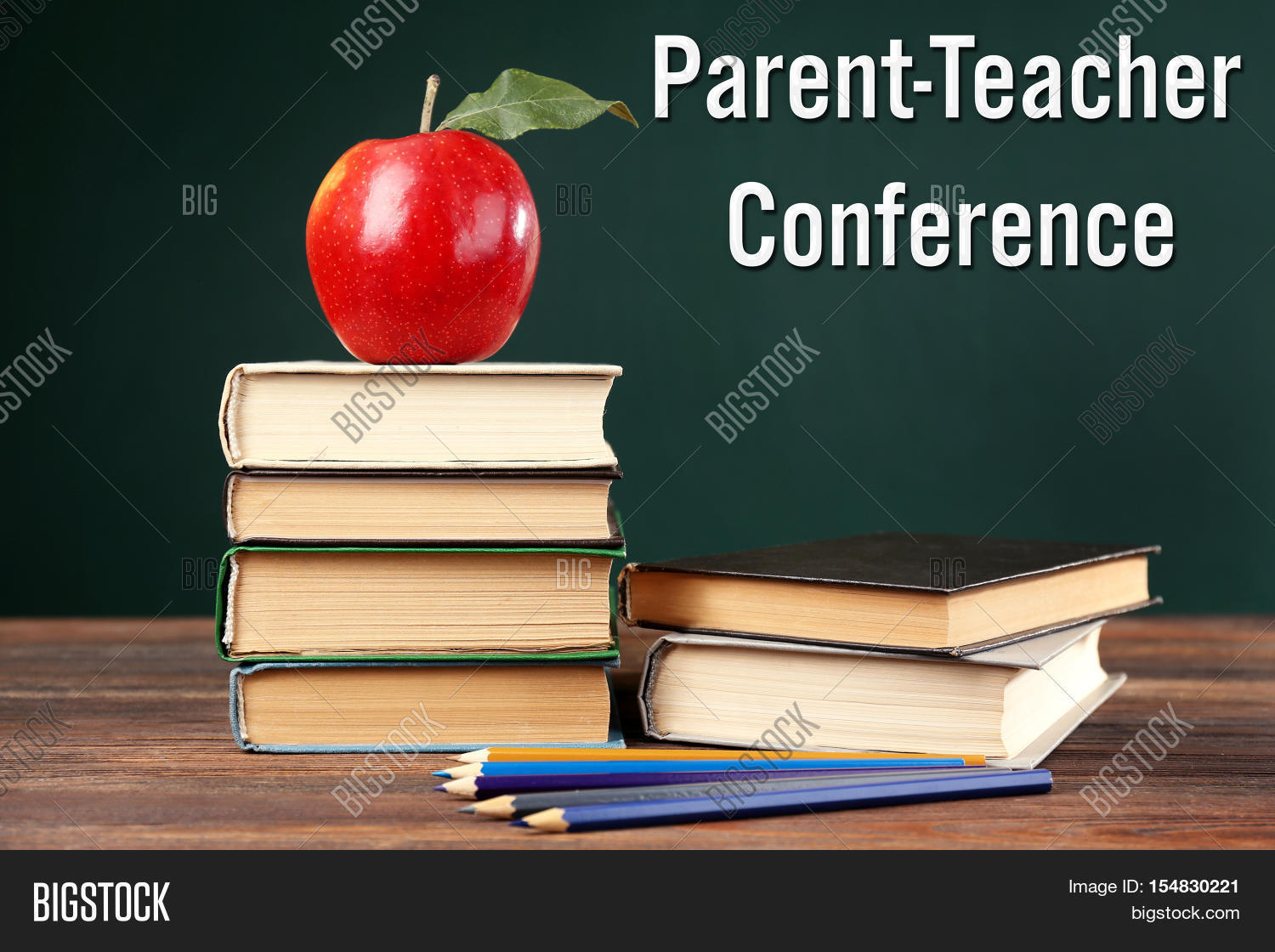 Stacked Books With Colorful Pencils And Apple On Wooden Table Text PARENT TEACHER CONFERENCE