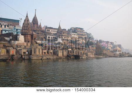 View of Varanasi city from a boat on river Ganga, Varanasi, Uttar Pradesh, India