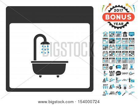 Shower Bath Calendar Page pictograph with bonus calendar and time management images. Glyph illustration style is flat iconic symbols, blue and gray colors, white background.