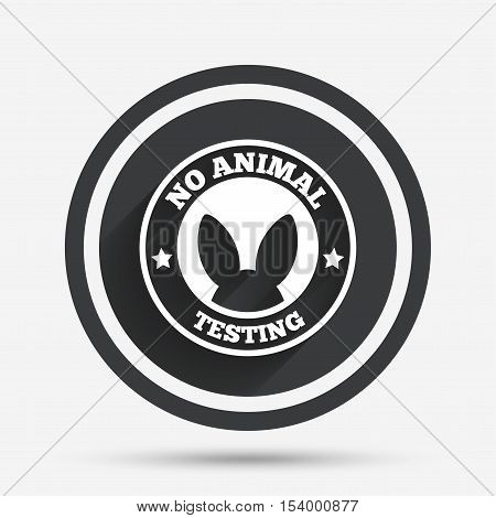 No animals testing sign icon. Not tested symbol. Circle flat button with shadow and border. Vector