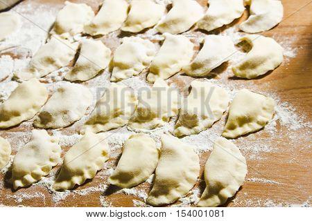 Dumplings traditional Russian, Belarussian, Ukrainian meal