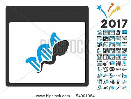 Sperm DNA Replication Calendar Page icon with bonus calendar and time management symbols. Glyph illustration style is flat iconic symbols, blue and gray colors, white background.