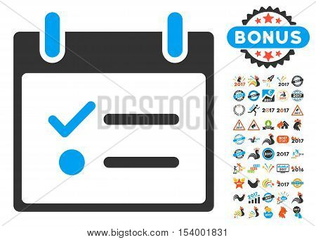Todo List Calendar Day icon with bonus calendar and time management pictograph collection. Glyph illustration style is flat iconic symbols, blue and gray colors, white background.