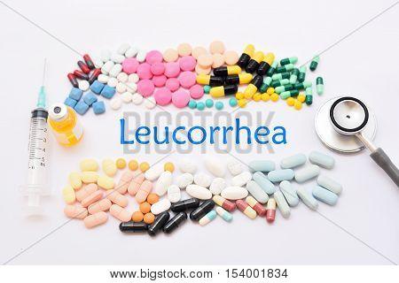 Syringe with drugs for leucorrhoea treatment, medical concept