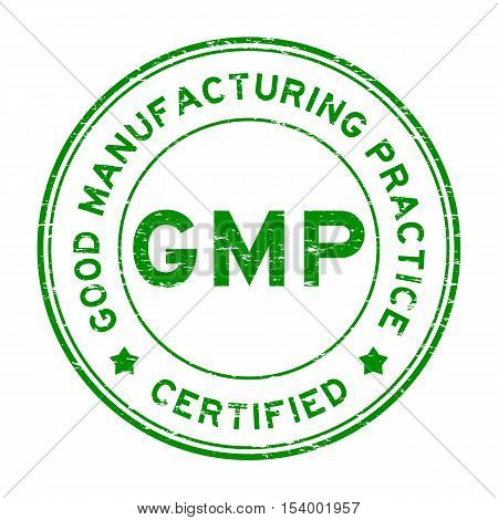 Grunge green GMP certified round rubber seal stamp on white background