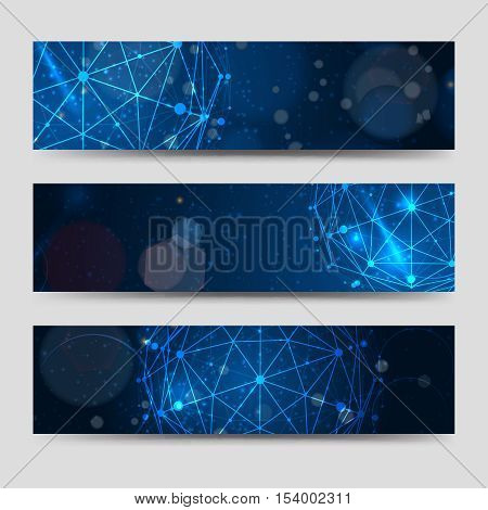 Horizontal banners template with abstract blue sphere and shining backdrop. Vector illustration