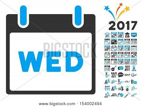 Wednesday Calendar Page icon with bonus calendar and time management pictograph collection. Glyph illustration style is flat iconic symbols, blue and gray colors, white background.