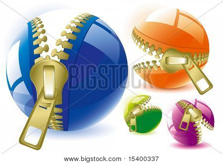 Unzipped glossy spheres. Vector. poster