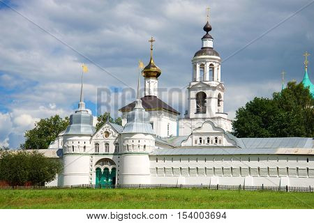 Holy Gates and St. Nicholas Church in the Holy Vvedensky Tolgsky convent, cloudy day in july. Yaroslavl, Golden Ring of Russia