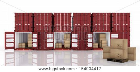 3D rendering : illustration of row of container with opened container and cardboard boxes inside the container.business export import concept.cardboard boxes on foreground
