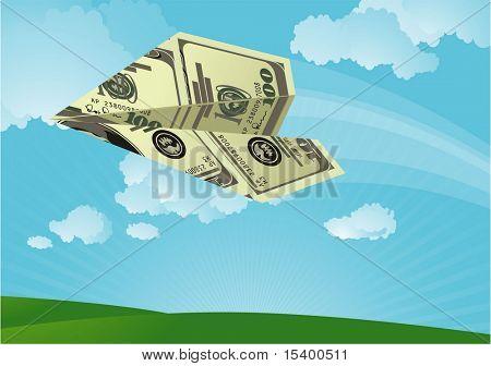 Dollar plane flying in th sky. Vector.
