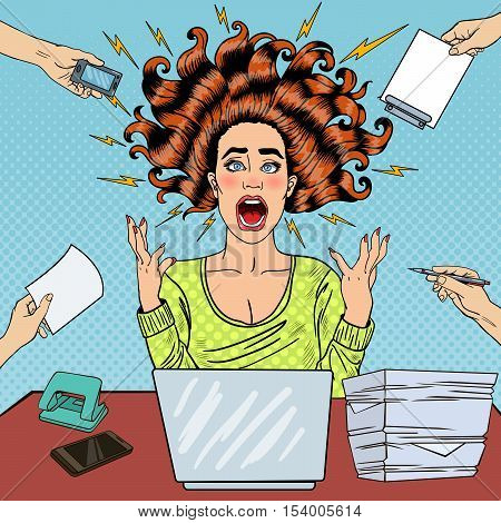Pop Art Aggressive Furious Screaming Woman with Laptop at Office Work. Vector illustration